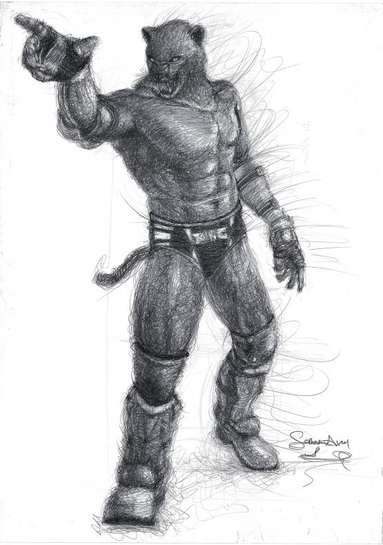 King Tekken Charcoal Drawing By Serhat Avci Gallerymak